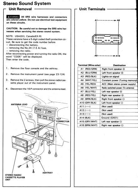 1992 honda accord stereo wiring diagram 94 accord ex radio wiring honda tech