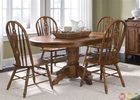 Old World Oak Finish Pedestal Table Casual Dining Set Casual Dining Table Sets