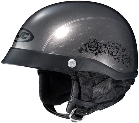 ladies motorcycle helmet 80 99 hjc womens cl ironroad black rose motorcycle half