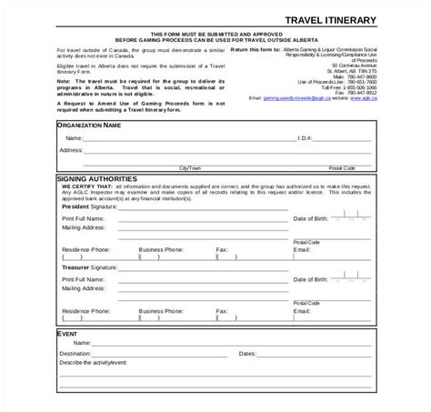 itinerary template pdf 40 travel itinerary templates free sle exle