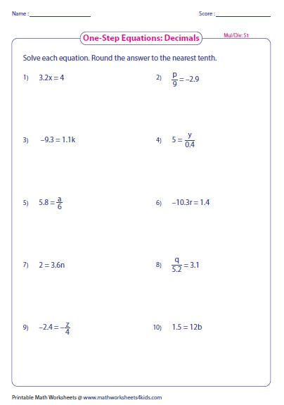 One Step Equations Worksheet by Division Worksheets 187 Division Worksheets With Decimals