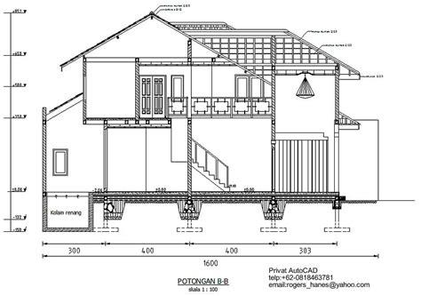 privat autocad profesional gambar potongan rumah mewah untuk privat autocad