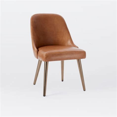 west elm saddle chair knock mid century leather dining chair saddle blackened brass