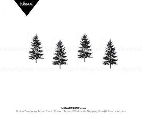 christmas tree tattoo 4pcs tiny pine tree gift small inknart