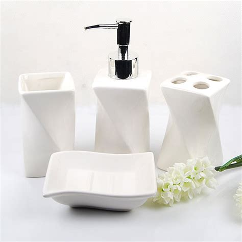 Contemporary Bathroom Accessory Sets Elegant White Ceramic Bathroom Accessory 4piece Set
