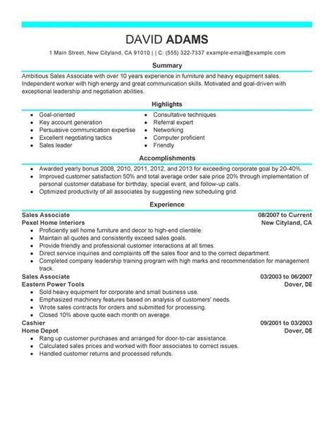 sample resume sales associate retail store sales associate resume