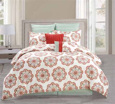 8 piece full jemila red aqua comforter set ebay
