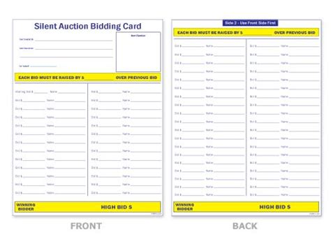 auction bidding cards template silent auction sheet casino the o
