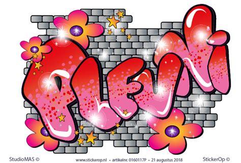 muursticker graffiti met stenen muur pleuni