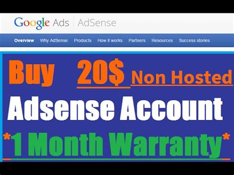 adsense non hosted buy adsense account 1 month replacement gaurantee youtube