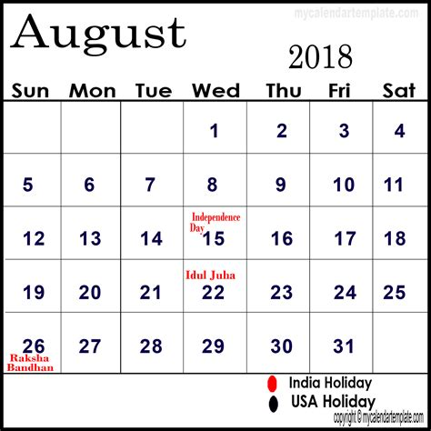 Printable Calendar With Holidays And Lines August 2018 Calendar With Holidays Calendar Monthly