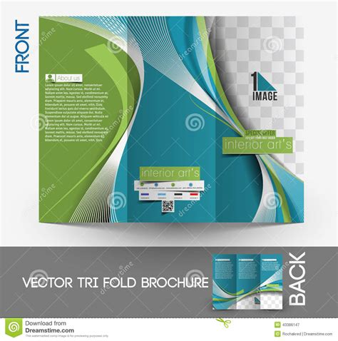 Couture Trifold Travel In Mock by Architecture Interior Designer Brochure Stock Vector