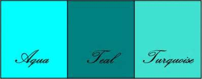 show me the color turquoise differences between turquoise teal and aqua janet carr