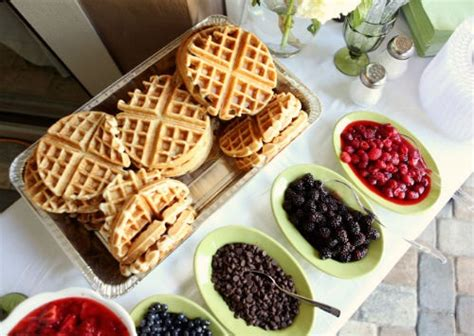 Waffle Bar Toppings by Wedding Food Bars Rooted In