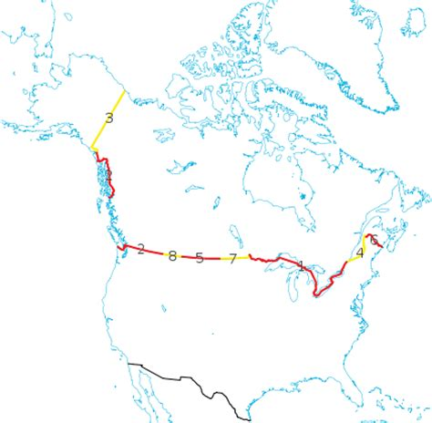 map of us and canada border crossings file us canada border provinces svg wikimedia commons