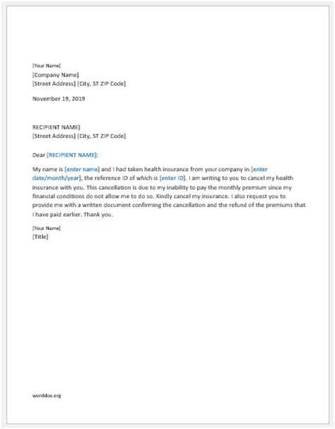 health insurance cancellation