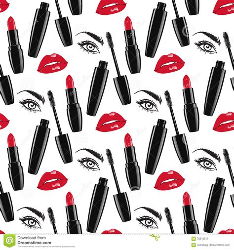 makeup pattern vector seamless pattern makeup vector illustration stock vector