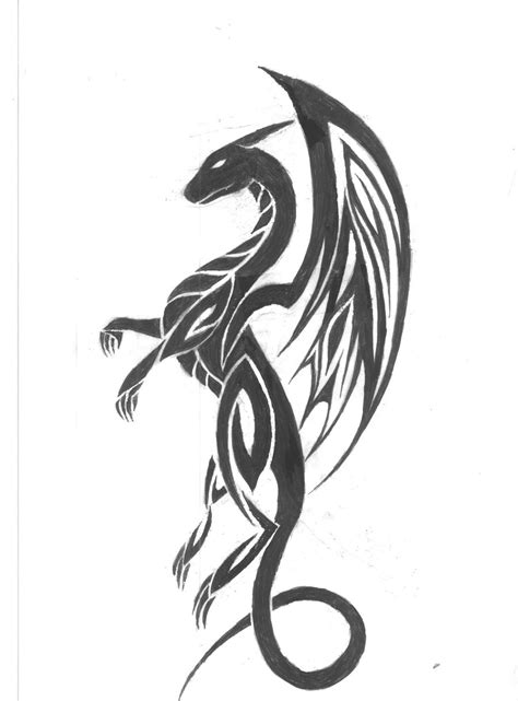 small tribal dragon tattoos design