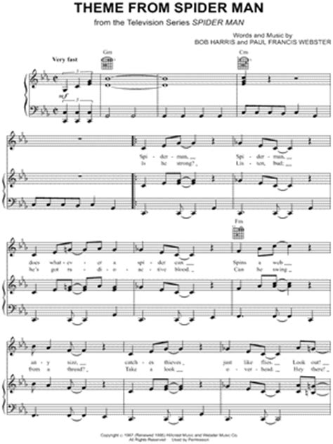 theme song spiderman paul francis webster quot theme from spider man quot sheet music