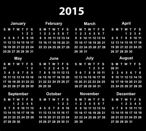 printable monthly calendar 2015 black and white 2015 calendar free stock photo public domain pictures