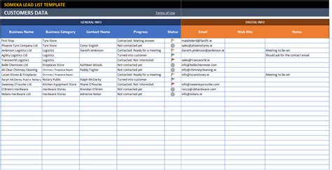 Lead List Excel Template For Small Business Free Printable Spreadsheet Template Exle