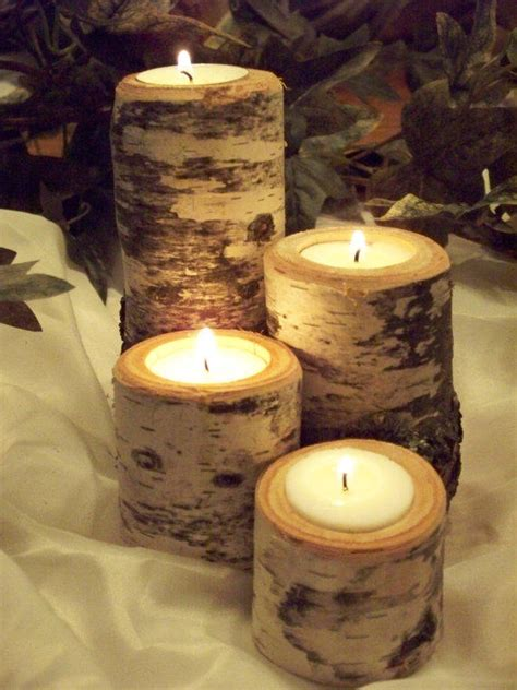 home decor birch wood candle holders wedding decor rustic candle holder set of 4 wedding from northwoodswood on