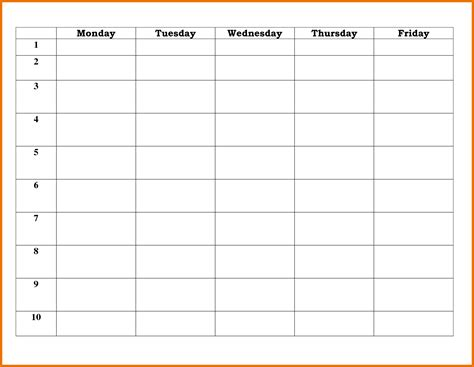 day schedule template 5 day schedule template itinerary template sle