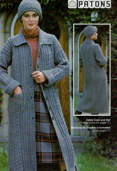 knit pattern long sweater coat crochet knitting pattern womens long sweater hooded cable