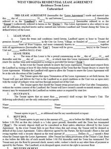 west virginia residential tenancy lease agreement west