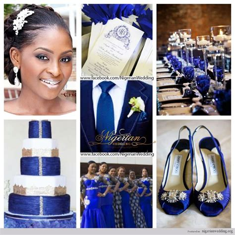 nigerian wedding cobalt blue white  silver wedding
