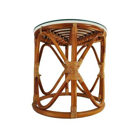 Rattan Side Table Vintage Rattan Table Bohemian Wicker Glass Top Table Bamboo Side Table Vintage Rattan And