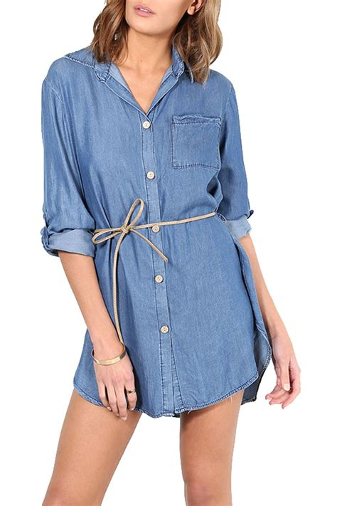 Sleeve Side Button Shirt womens collar button turn up sleeve side slit