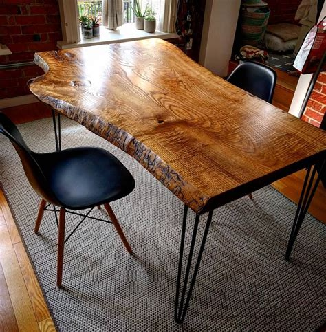 live edge table legs live edge ash dining table on hairpin legs by