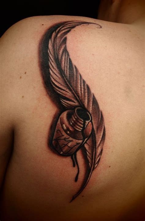 feather pen tattoo pic white feather pen tattoo www imgkid com the image kid
