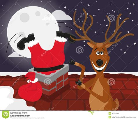 santa and reindeer for roof reindeer with santa on the roof stock vector image