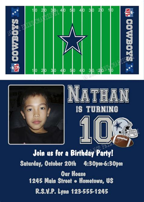 personalized photo invitations cmartistry personalized dallas cowboys photo birthday