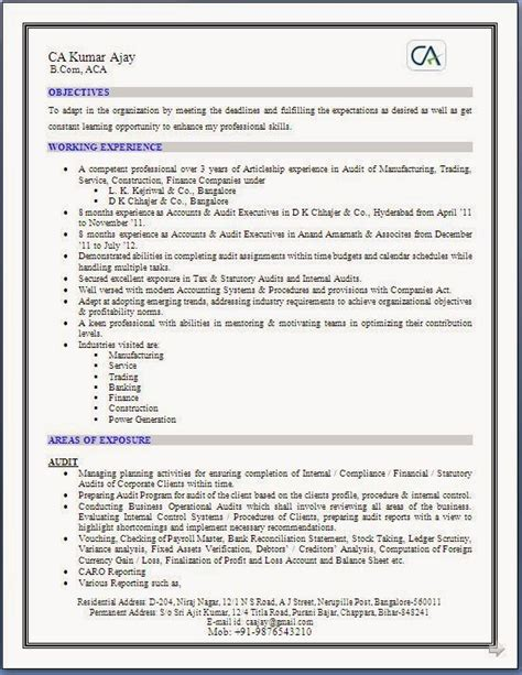 standard format of resume for ca articleship sle resume for freshers