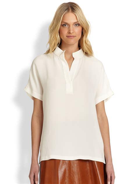 Dmj New York Blouse lyst lafayette 148 new york silk reyn blouse in