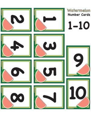 free printable number flashcards 1 10 watermelon number cards 1 10 fuel the brain