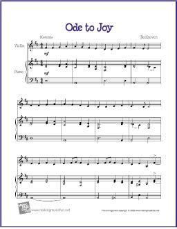 ode to joy (beethoven)   free sheet music for beginner vio