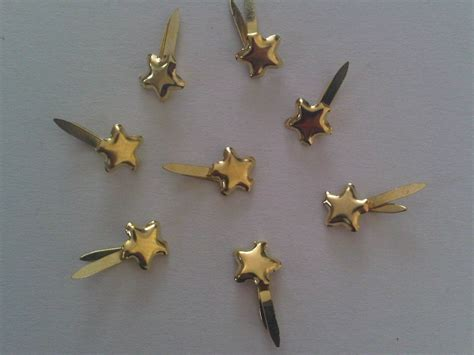 Paper Fastener Crafts - 100 mini gold studs paper fasteners for craft