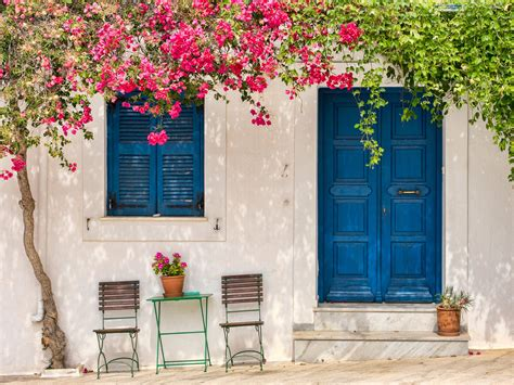 wallpaper flower house house in santorini full hd wallpaper and background image