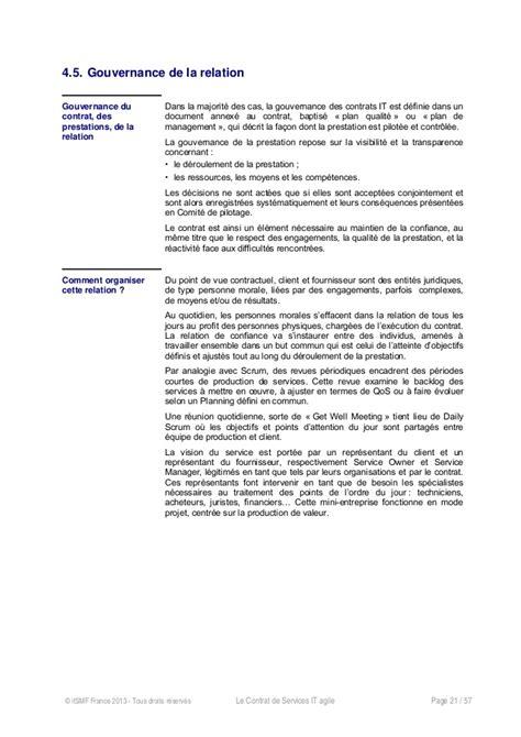 Contrat Cadre Prestation De Service le contrat de services agile livre blanc itsmf