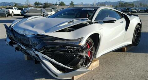 there s a wrecked 2017 acura nsx for sale at salvage yard