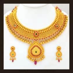 gold bridal set gold bridal attigai necklace set from vbj south india jewels