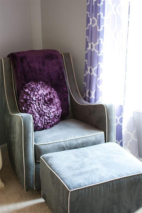 purple glider and ottoman brooke s purple and gray nursery project nursery