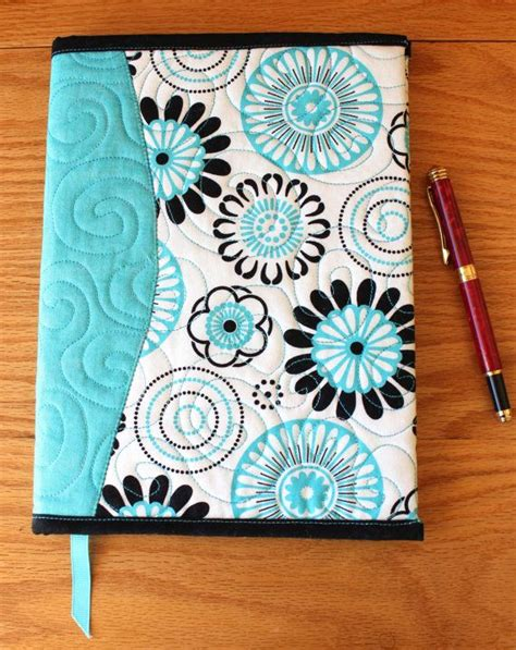 Fabric Journal Pattern | quilted fabric journal cover modern turquoise black and