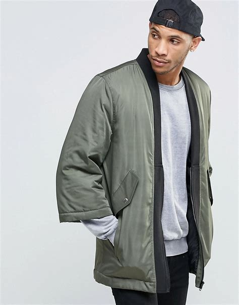 Jaket Denim Hoodie Wanita Lyst Asos Kimono Bomber Jacket In Khaki In Green For