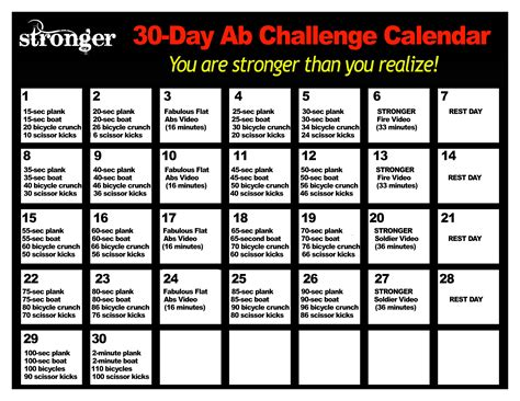 30 days abs challenge calendar the challenge calendar with your friends on