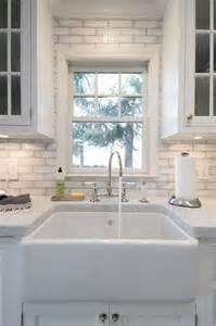 farm sink with backsplash waterworks reclaimed brick transitional kitchen